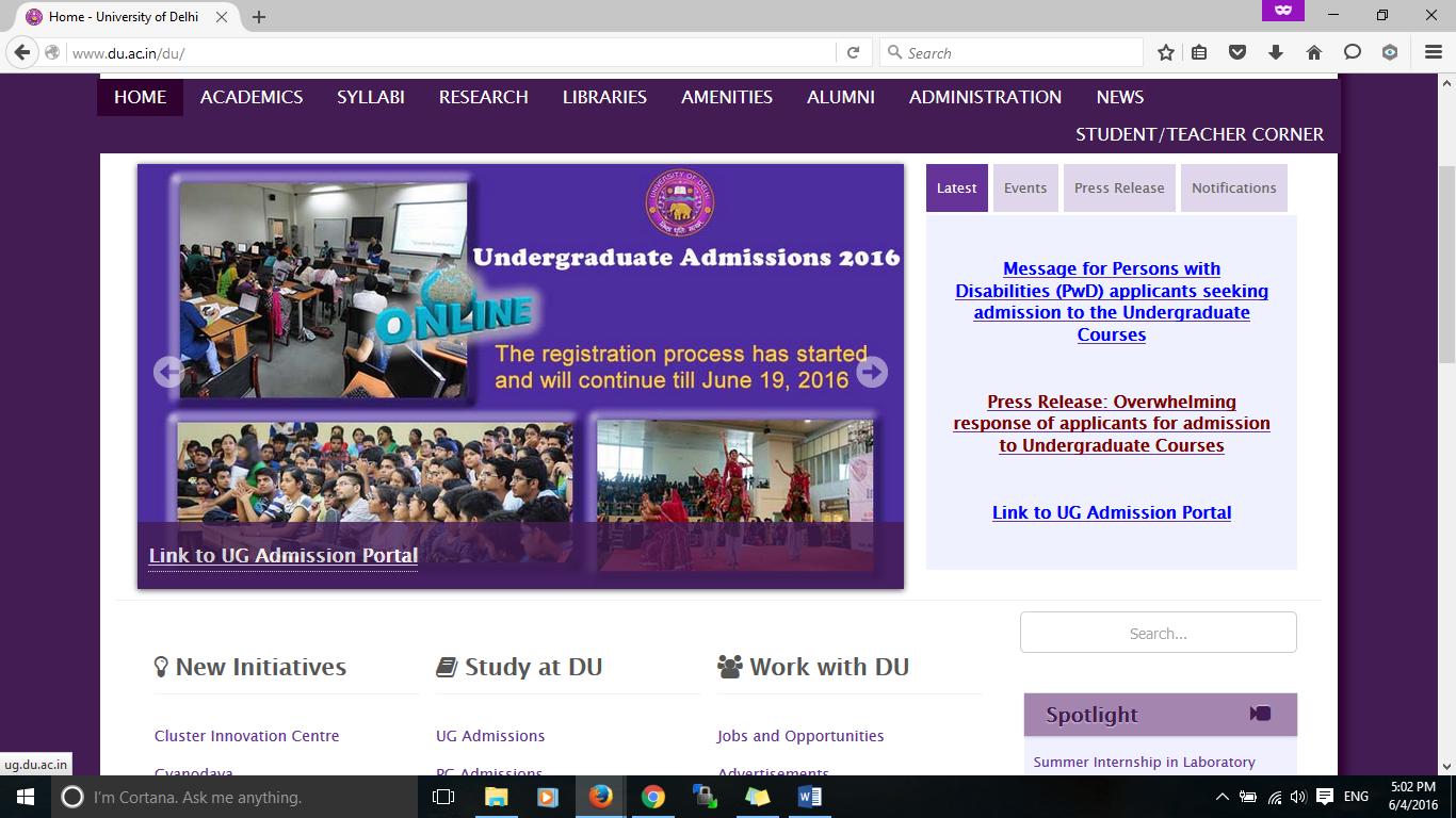 DU Admissions 2016